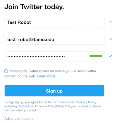 """Image of Twitter's account creation screen with the information for """"Test Bot"""" filled in."""
