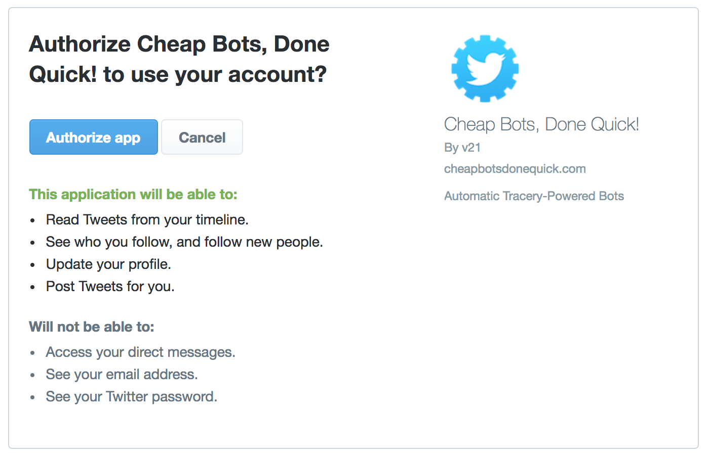 Image showing the screen Twitter uses to ask if you authorize the app to use your account