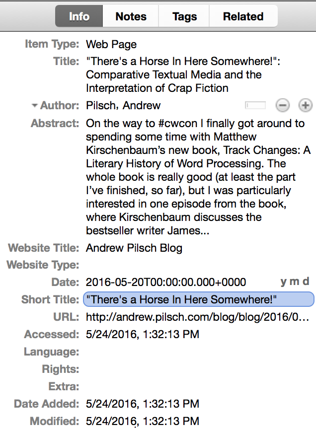 A previous blog post whose metadata has correctly imported into Zotero