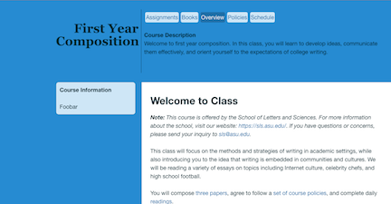 Image of Course Website for First Year Composition