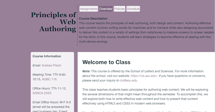 Image of Course Website for Principles of Web Authoring