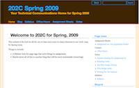Screencapture of ENGL 202C Spring 2009 Homepage